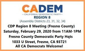 CDP Region 8 Meeting in Fresno (Fresno County) @ Fresno County Democratic Party Headquarters